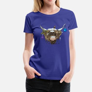 Christmas Cow Christmas Highland Cow (Limited Edition) - Women's Premium T-Shirt