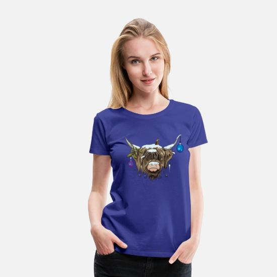 Christmas T-Shirts - Christmas Highland Cow (Limited Edition) - Women's Premium T-Shirt royal blue