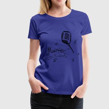 Microphone with music lettering - Women's Premium T-Shirt