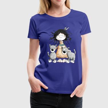 Indian Girl with wolf friends - Women's Premium T-Shirt