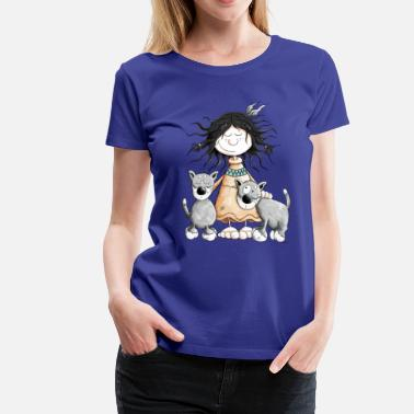 Indian Indian Girl with wolf friends - Women's Premium T-Shirt