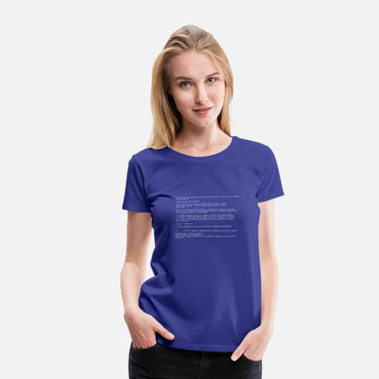 Geek T-Shirts - Blue Screen - Women's Premium T-Shirt royal blue