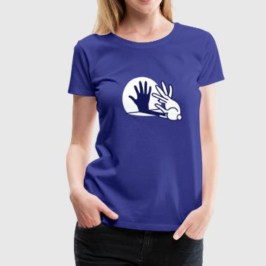 Ombre chinoise, main, lapin - T-shirt Premium Femme