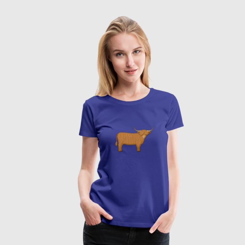 Highland cattle looking - Women's Premium T-Shirt