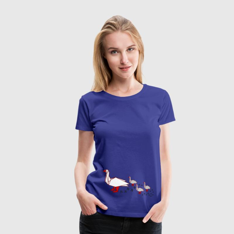 origami geese march - Dame premium T-shirt