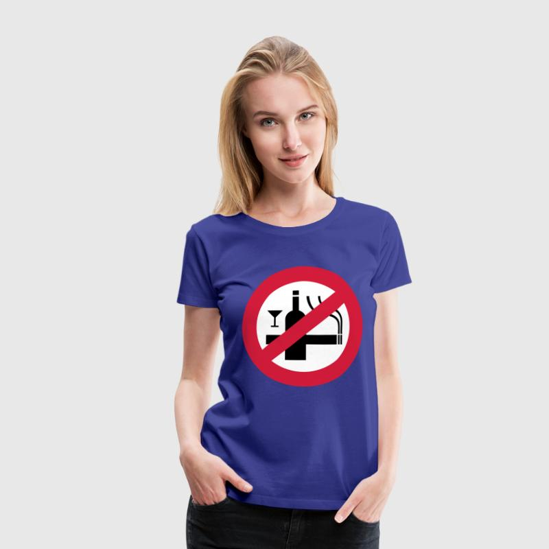Funny NO Smoking Alcohol Sign - Premium T-skjorte for kvinner