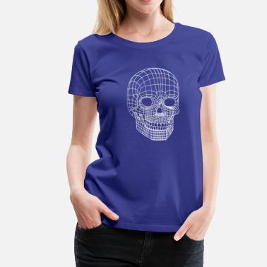 Wireframe Digital Skull Wireframe Model Head - Women's Premium T-Shirt