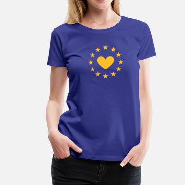 EU heart, I love Europe, Europa star, flag - Women's Premium T-Shirt