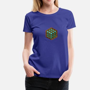 Melchizedek 3D Cube - crop circle - Metatrons Cube - Hexagon / - Women's Premium T-Shirt