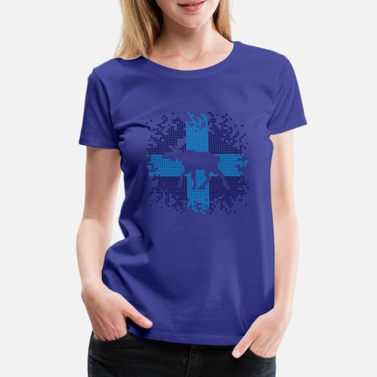 Pixel Älg Elk Premium T shirt dam marinblå