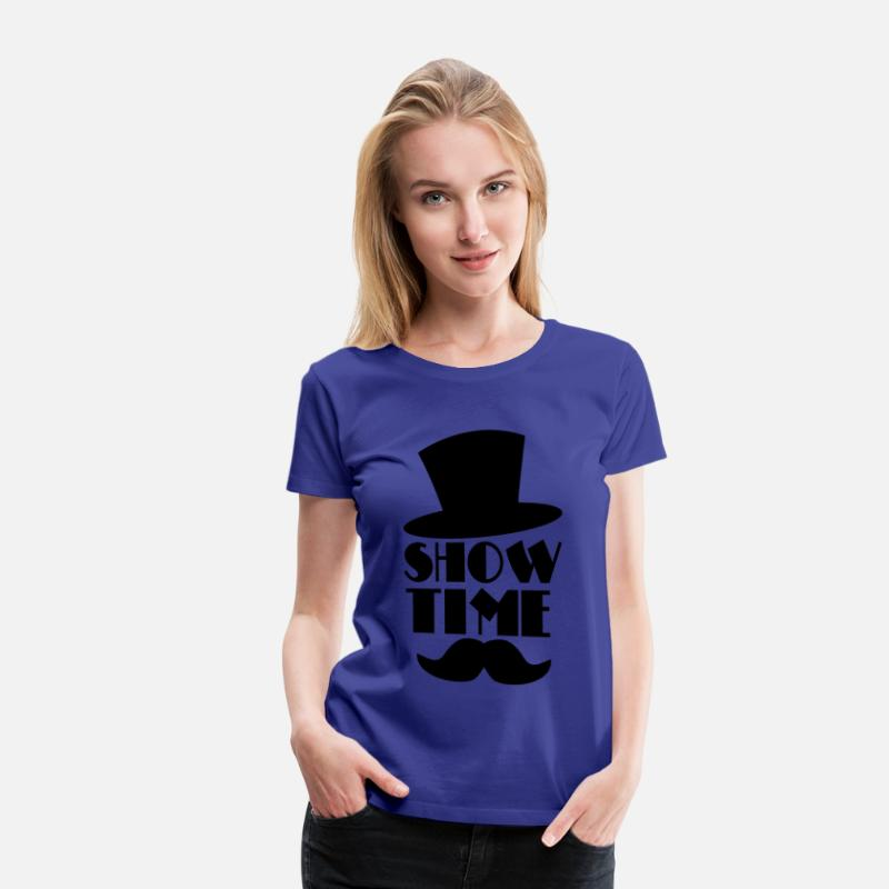 Circus T-Shirts - SHOW TIME clown circus hat and moustache  - Vrouwen premium T-shirt koningsblauw