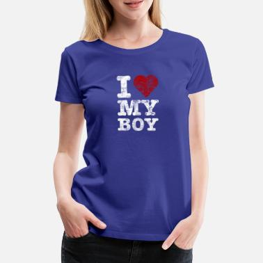 Couple I Love my BOY vintage light - Women's Premium T-Shirt