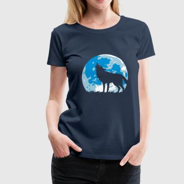 Howling Wolf At Full Moon (3C) - Women's Premium T-Shirt