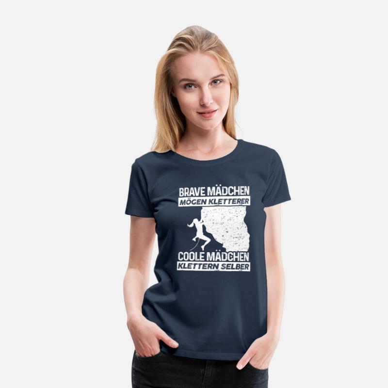 Coole Mädchen Klettern Selber Geschenk Frauen Premium T Shirt Navy