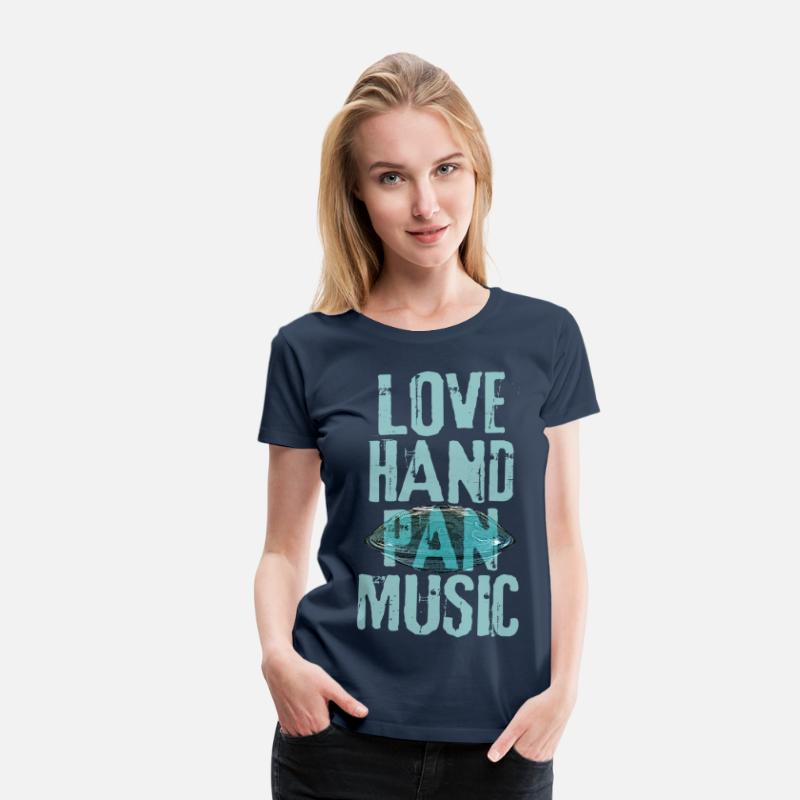 Handpan T-Shirts - LOVE HANDPAN MUSIC hang drum - Frauen Premium T-Shirt Navy