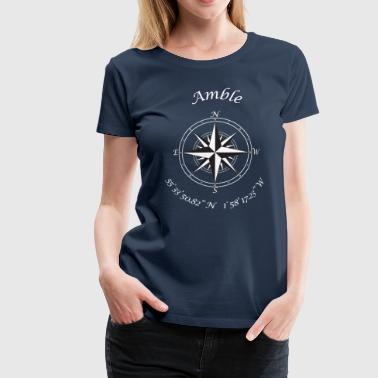 Amble, Northumberland.   Compass (white) - Women's Premium T-Shirt