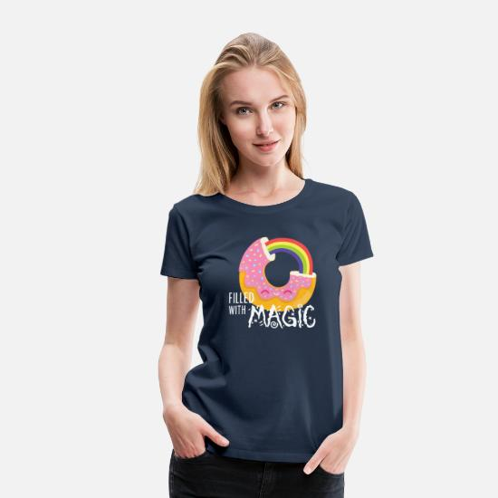 Nice T-Shirts - Donut - filled with magic - Women's Premium T-Shirt navy