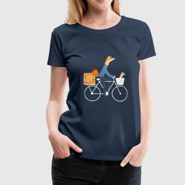 Fox Bike Gift Fox Bike Bicycle Courier Cycling Wheel - Women's Premium T-Shirt