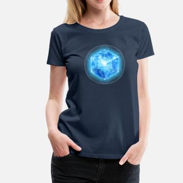 Metatrons Cube Metatrons Cube with TESSERACT, Hypercube 4D, digital, Symbol - Dimensional Shift,  - Women's Premium T-Shirt