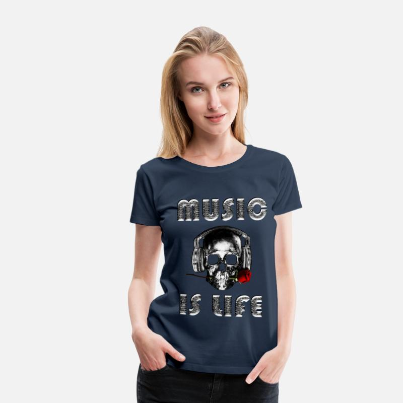 Silver T-Shirts - music is life - Women's Premium T-Shirt navy
