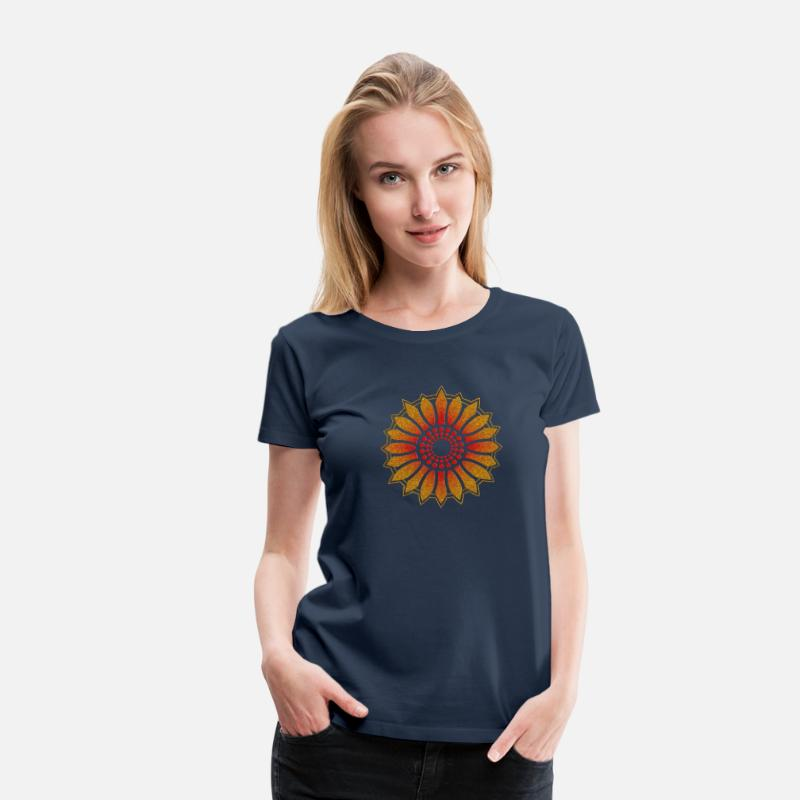 Bio T-Shirts - Sunflower - Follow the light!, digital glitter, symbol of vitality, joy and confidence, energy icon, symbol of green politics - Women's Premium T-Shirt navy