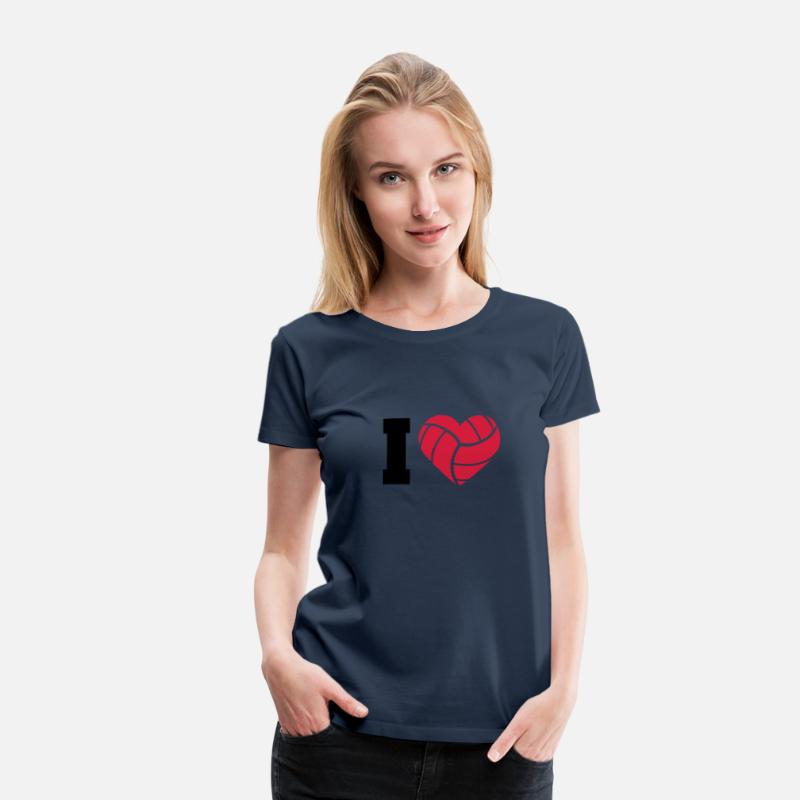 Sports T-Shirts - I Love Volleyball - Vrouwen premium T-shirt navy
