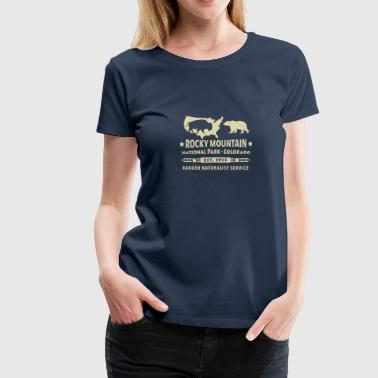 Berge Rocky Mountains Rocky Mountain Nationalpark Berg Bison Grizzly Bär - Frauen Premium T-Shirt