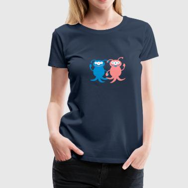 Cute Alien Love Couple - Women's Premium T-Shirt