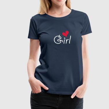 Girl with ♥ - T-shirt Premium Femme