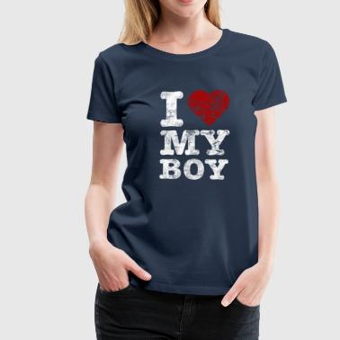 Couples I Love my BOY vintage light - Women's Premium T-Shirt