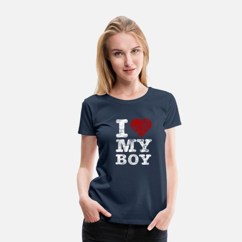 "Valentine's Day T-Shirts - ""I Love my BOY"" vintage light - Women's Premium T-Shirt navy"