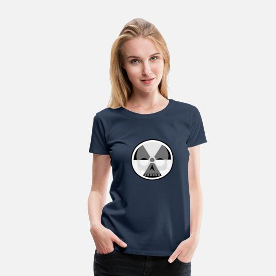 Alert T-Shirts - Nuclear sign and skull - Women's Premium T-Shirt navy