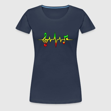 Reggae, music, notes, pulse, frequency, Rastafari - Women's Premium T-Shirt