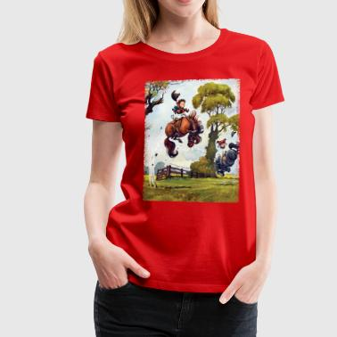 Ponyrodeo Thelwell cartoon - Dame premium T-shirt