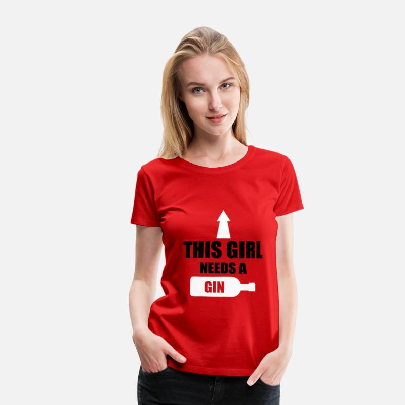Alcohol T-Shirts - This Girl Needs A Gin - Vrouwen premium T-shirt rood