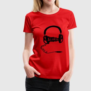 Motif de casque audio Wave: la musique blues, audiophile  - T-shirt Premium Femme