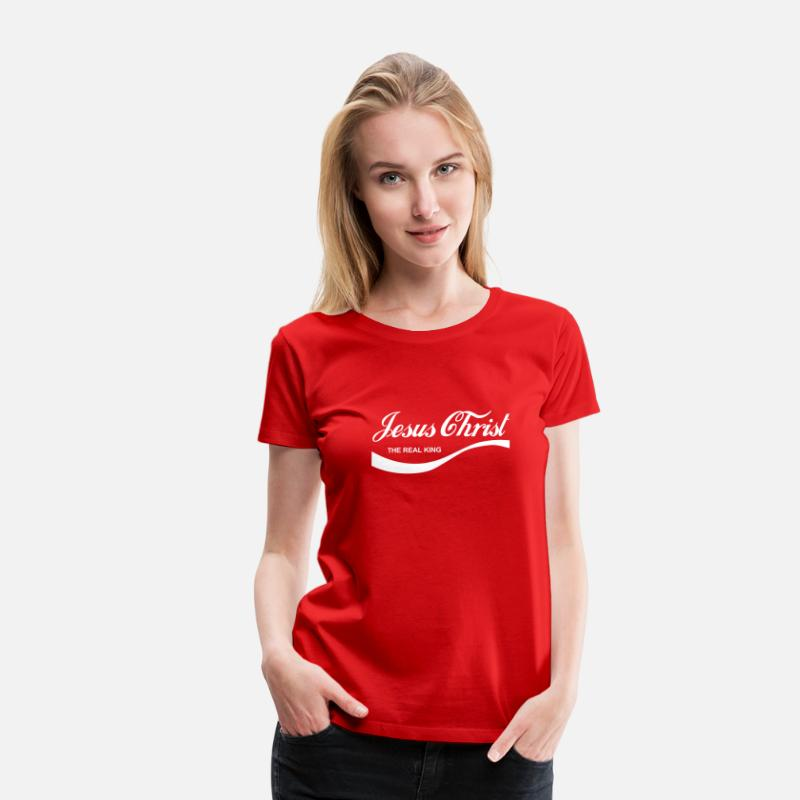 Jesus T-Shirts - Jesus Christ - The Real King - Women's Premium T-Shirt red