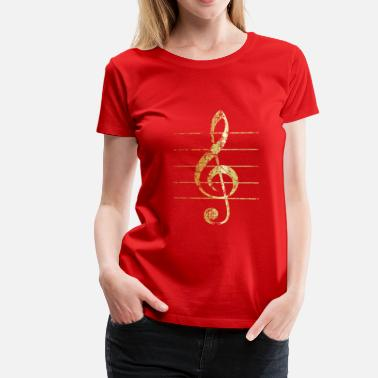 Treble Clef G-Clef - Treble Clef (Ancient Gold) - Women's Premium T-Shirt