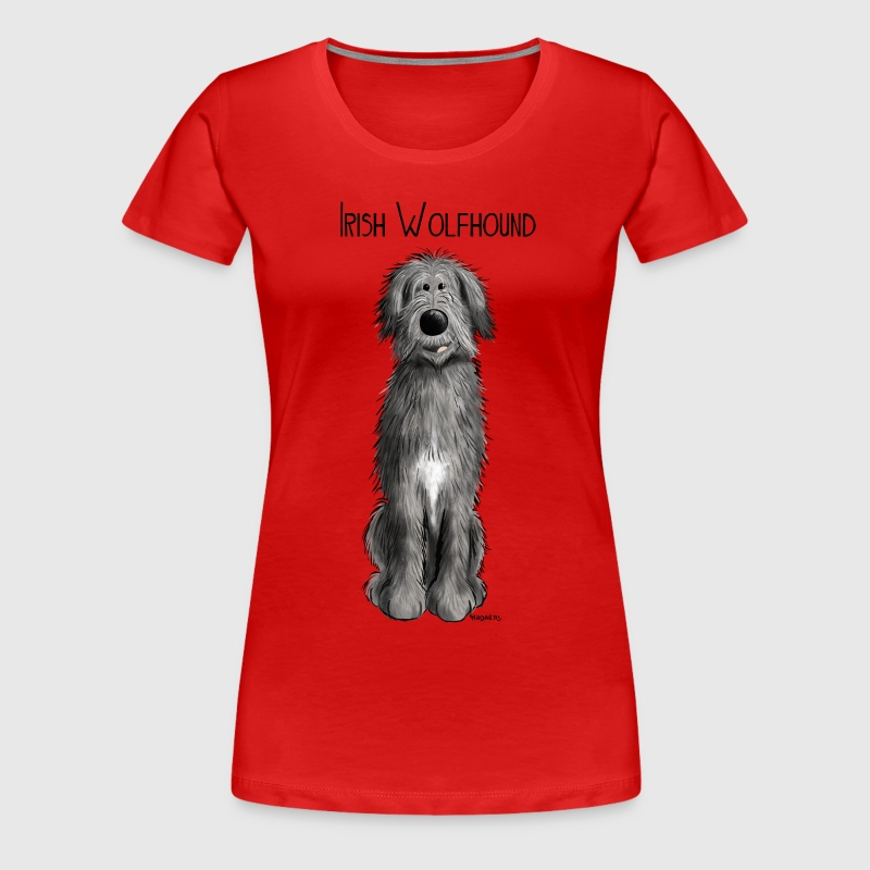 Funny Irish Wolfhound - comic - dog - cartoon - Women's Premium T-Shirt