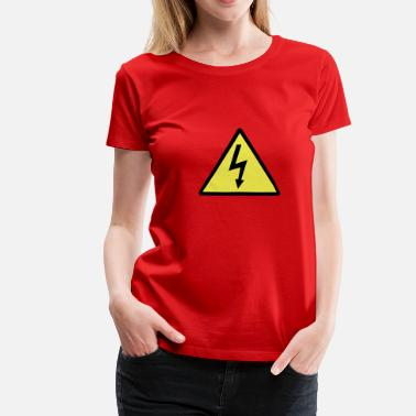 Electrical Symbols Attention,Symbol,Lightning,Electricity - Women's Premium T-Shirt