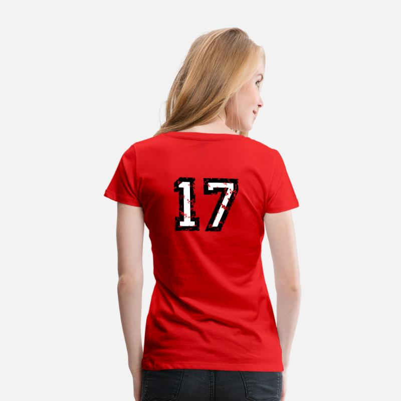 Baseball T-Shirts - The Number Seventeen - No. 17 (two-color) white - Women's Premium T-Shirt red
