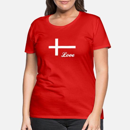 Elsker Danmark Danmark Danmark Dame premium T shirt rød