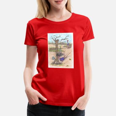 Hit Running woman falls' slides and hits a tree. - Women's Premium T-Shirt