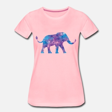 Bright Colors Elephant watercolor with tusks in purple purple - Women's Premium T-Shirt