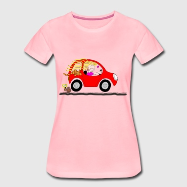 Cartoon Girl Driving Car - Women's Premium T-Shirt