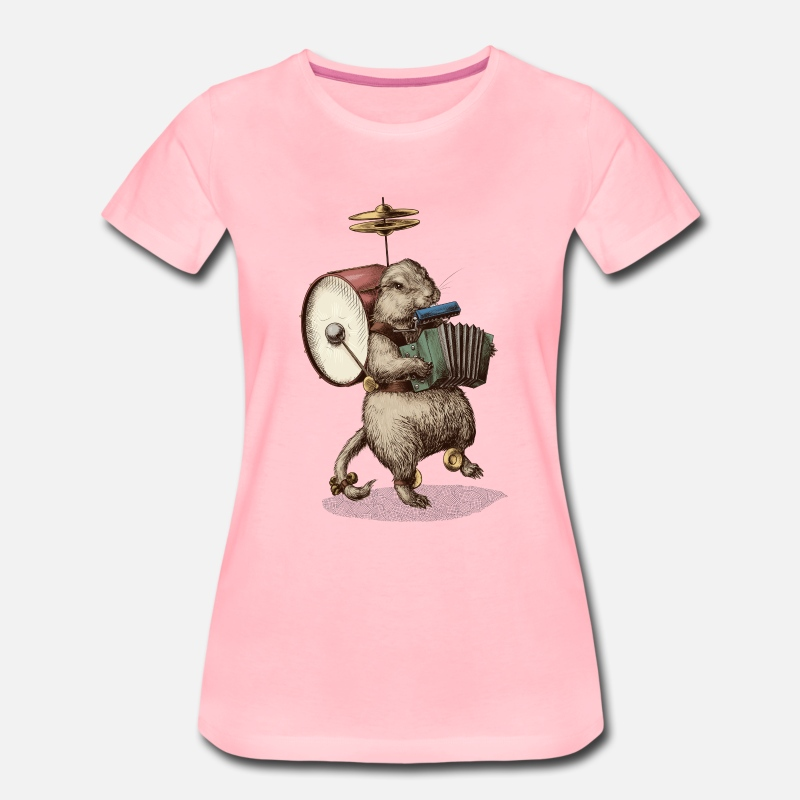 Accordion T-Shirts - Prairie Dog 1 man band - Women's Premium T-Shirt pink