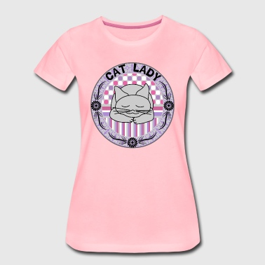 Oval Cat Lady Patterned Oval - Camiseta premium mujer