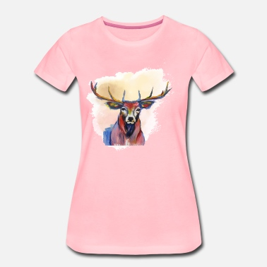 Red Deer Deer head in red cloud - Women's Premium T-Shirt