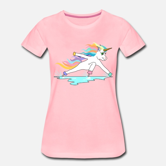 Unicorn T-Shirts - Fast skating unicorn in inclined position - Women's Premium T-Shirt pink