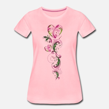 Krusidull Summer Tendril Heart Floral Vintage - Premium T-shirt dam